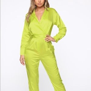 Brand new never worn size large jumpsuit satin